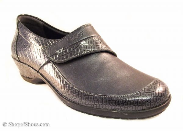 Dawn Ladies Navy with patent croc featured leather Shoe E-EE